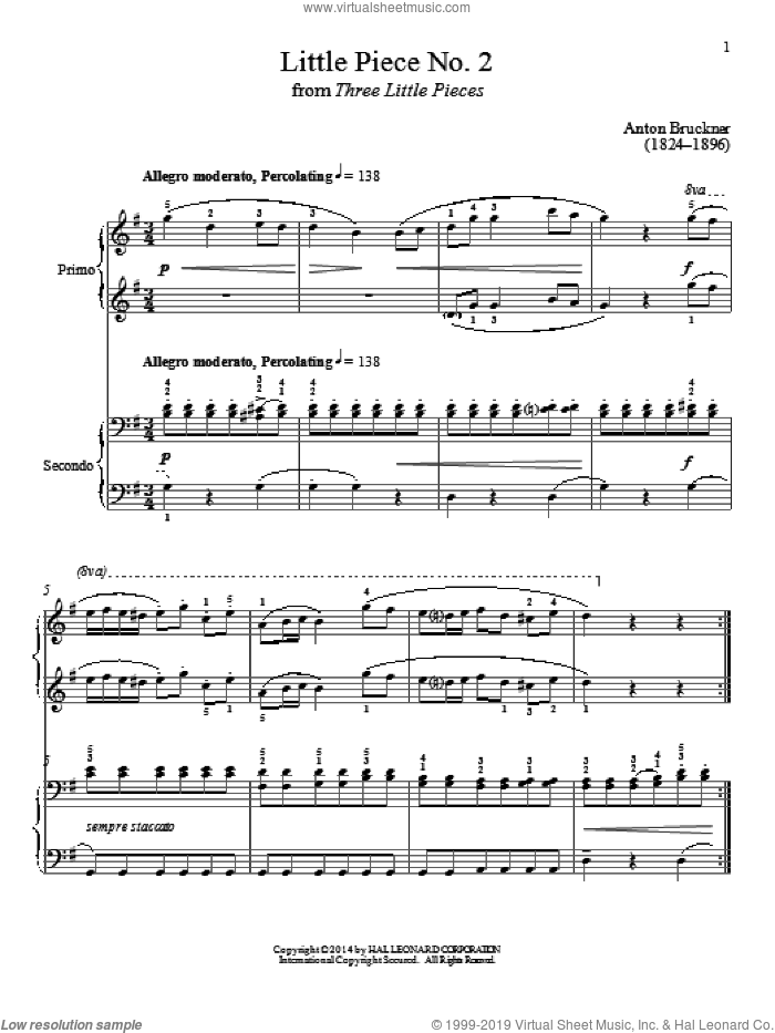 Little Piece No. 2 sheet music for piano four hands (duets) by Bradley Beckman, classical score, intermediate piano four hands. Score Image Preview.