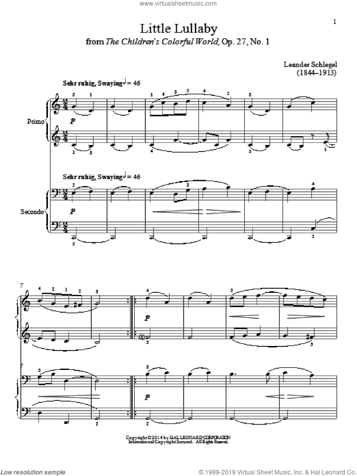 Little Lullaby sheet music for piano four hands by Bradley Beckman and Carolyn True, classical score, intermediate skill level
