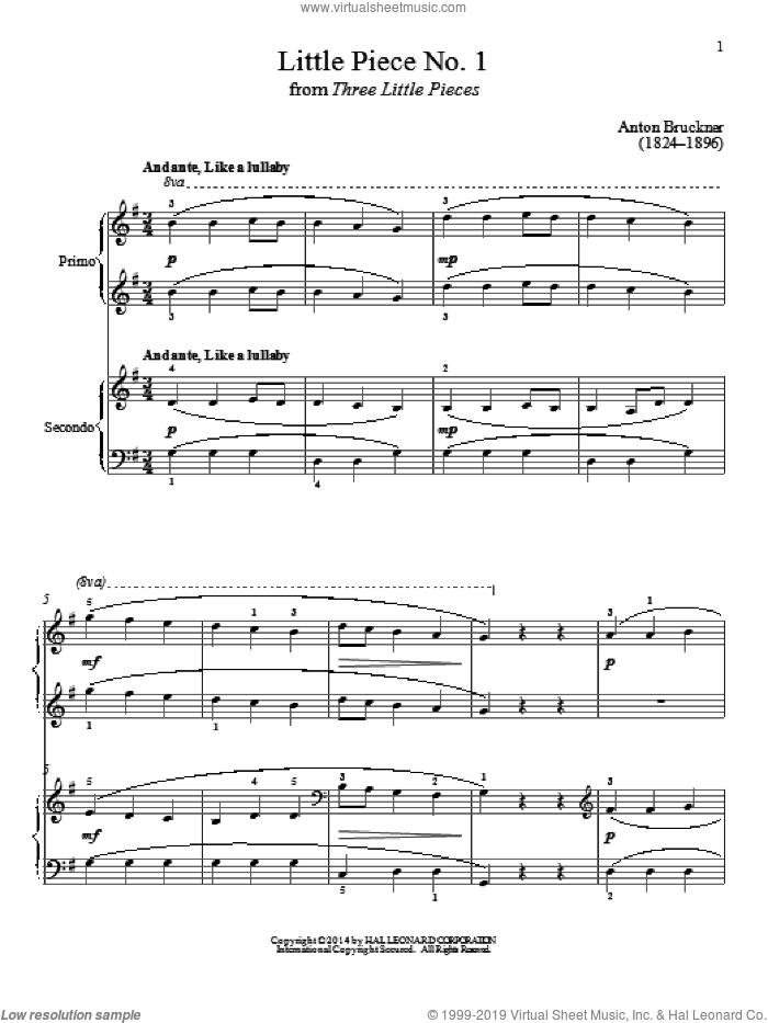 Little Piece No. 1 sheet music for piano four hands by Bradley Beckman and Carolyn True, classical score, intermediate skill level