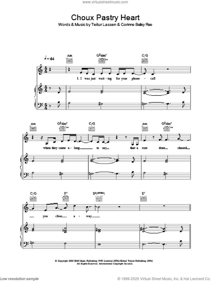 Choux Pastry Heart sheet music for voice, piano or guitar by Teitur Lassen and Corinne Bailey Rae. Score Image Preview.