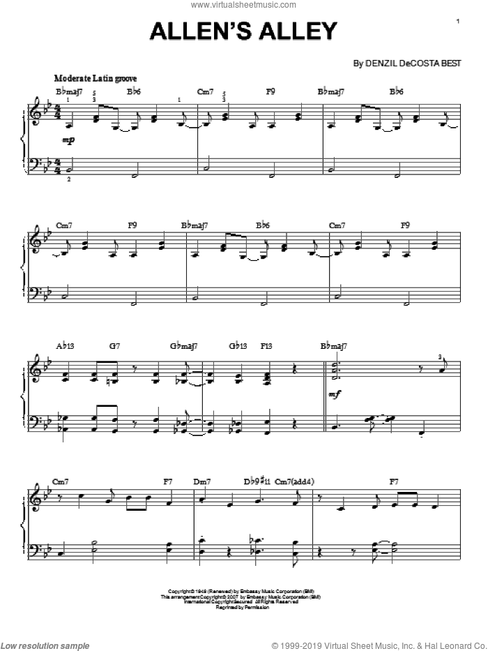 Allen's Alley sheet music for voice, piano or guitar by Denzil De Costa Best. Score Image Preview.