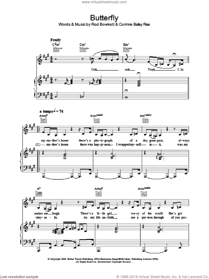 Butterfly sheet music for voice, piano or guitar by Corinne Bailey Rae and Rod Bowkett, intermediate skill level