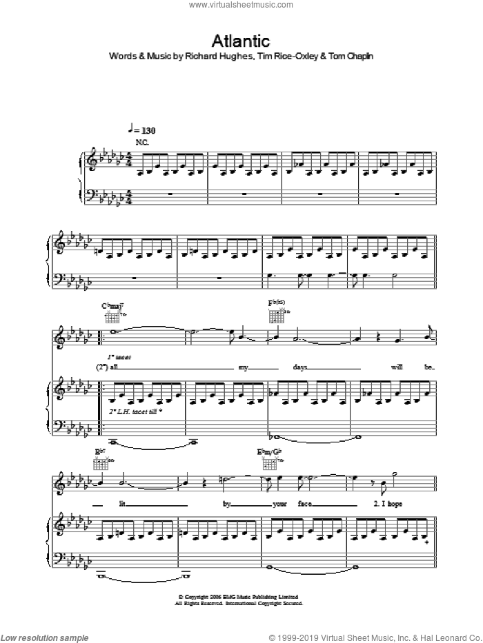 Atlantic sheet music for voice, piano or guitar by Tom Chaplin, Richard Hughes and Tim Rice-Oxley. Score Image Preview.