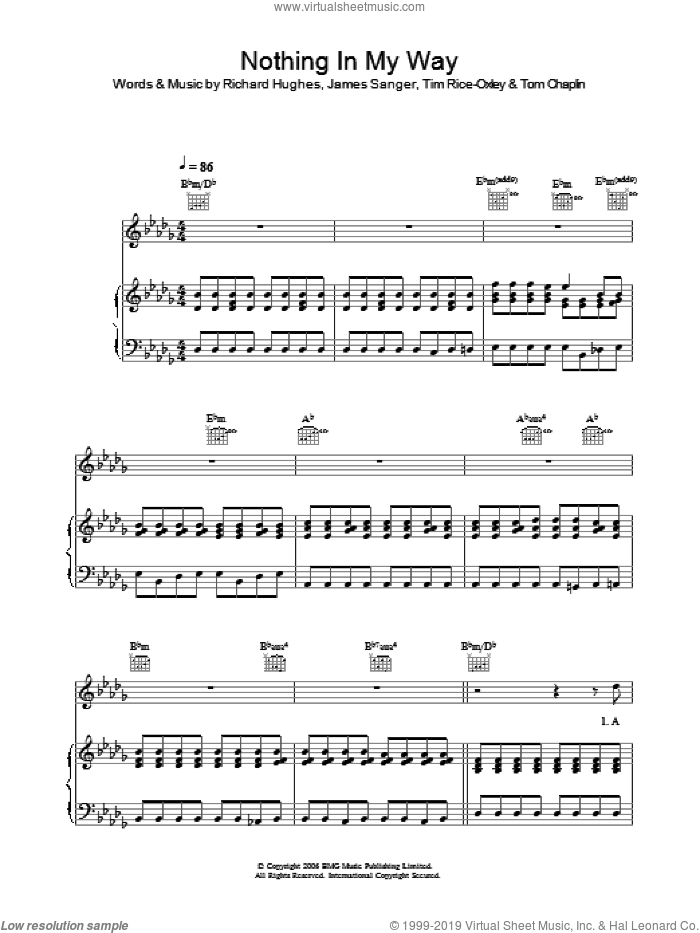 Nothing In My Way sheet music for voice, piano or guitar by Tim Rice-Oxley, James Sanger, Richard Hughes and Tom Chaplin, intermediate skill level