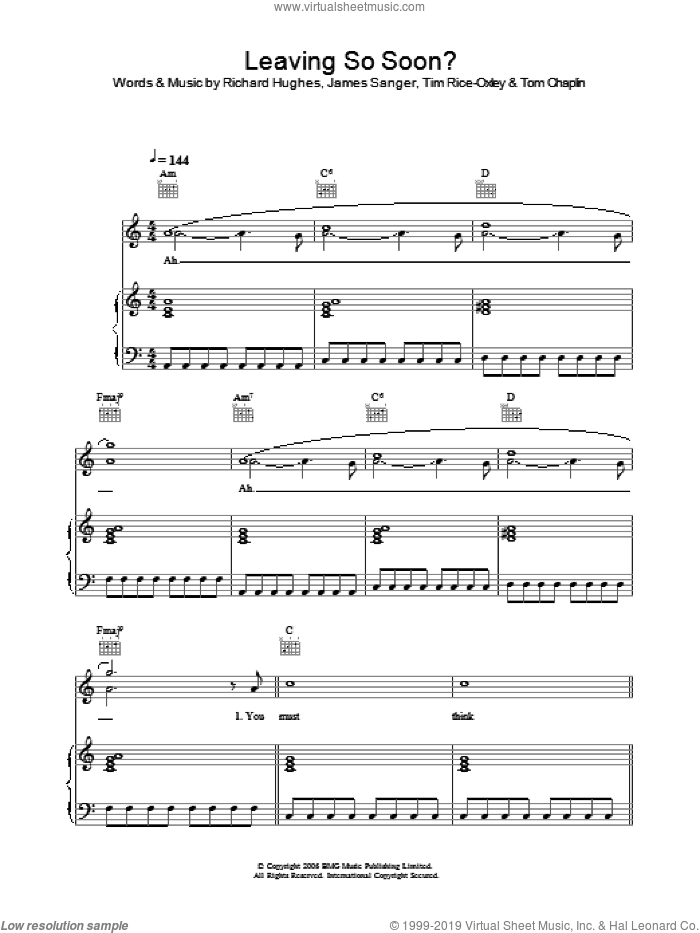 Leaving So Soon? sheet music for voice, piano or guitar by Tom Chaplin