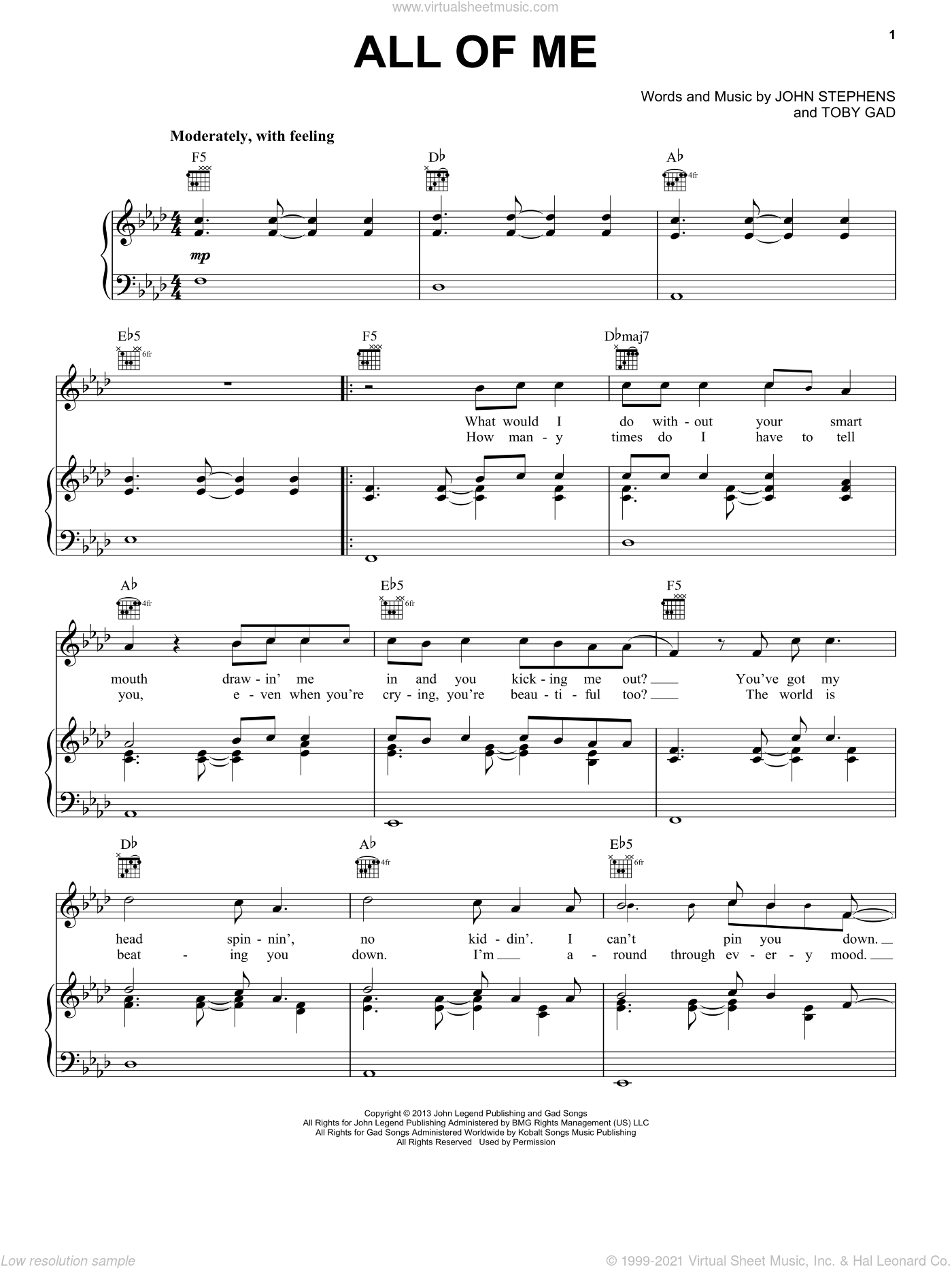 All Of Me sheet music for voice, piano or guitar by John Legend