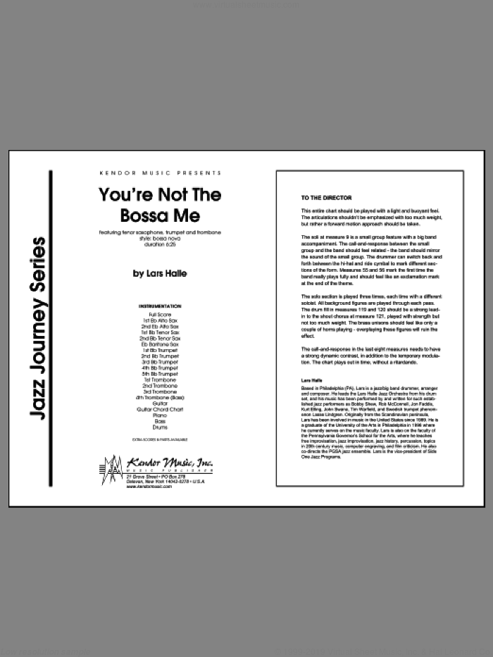 You're Not The Bossa Me (COMPLETE) sheet music for jazz band by Halle, intermediate