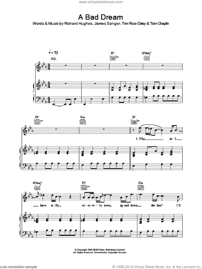 A Bad Dream sheet music for voice, piano or guitar by Tim Rice-Oxley, intermediate voice, piano or guitar. Score Image Preview.