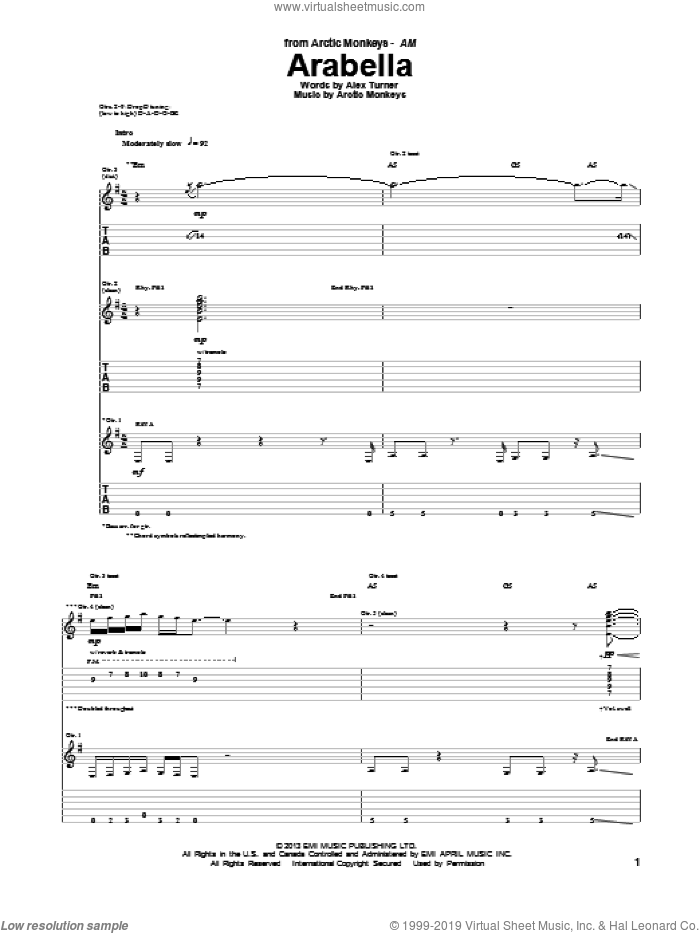 Arabella sheet music for guitar (tablature) by Arctic Monkeys. Score Image Preview.