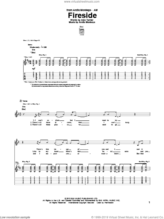 Fireside sheet music for guitar (tablature) by Arctic Monkeys, intermediate skill level
