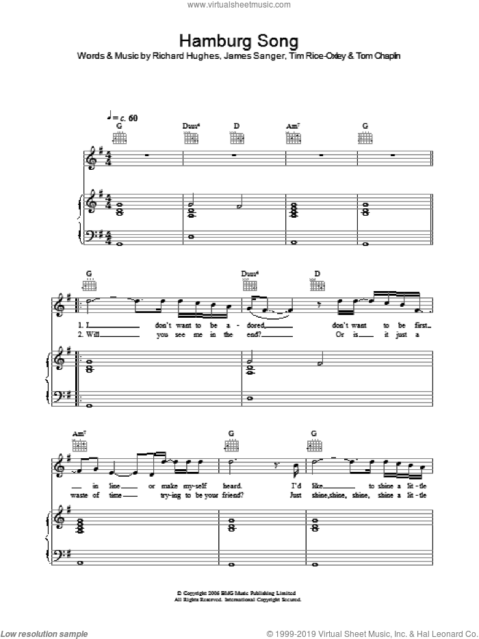 Hamburg Song sheet music for voice, piano or guitar by Tim Rice-Oxley, James Sanger, Richard Hughes and Tom Chaplin, intermediate skill level