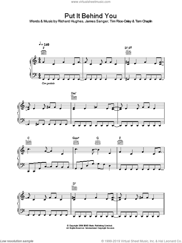 Put It Behind You sheet music for voice, piano or guitar by Tim Rice-Oxley, James Sanger, Richard Hughes and Tom Chaplin, intermediate skill level