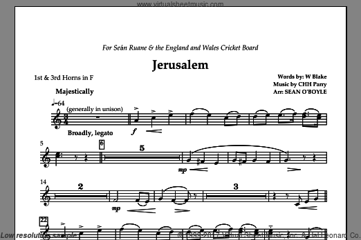 Jerusalem (in key of F) (COMPLETE) sheet music for orchestra by Sean O'Boyle