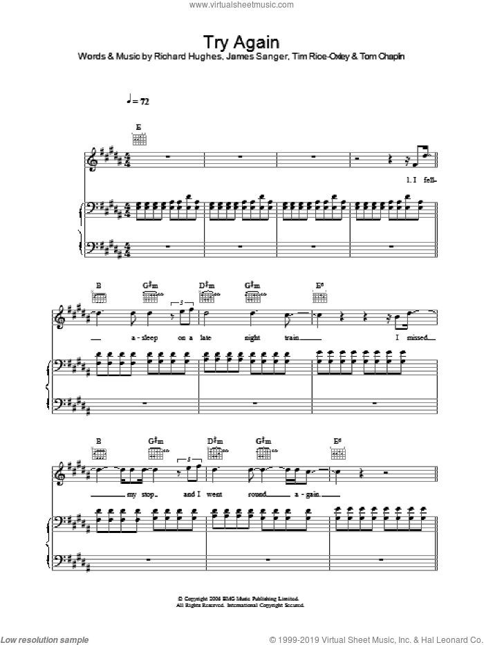 Try Again sheet music for voice, piano or guitar by Tim Rice-Oxley. Score Image Preview.