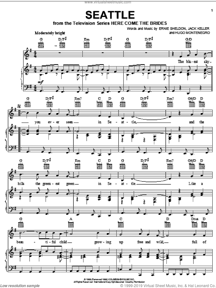 Seattle sheet music for voice, piano or guitar by Jack Keller