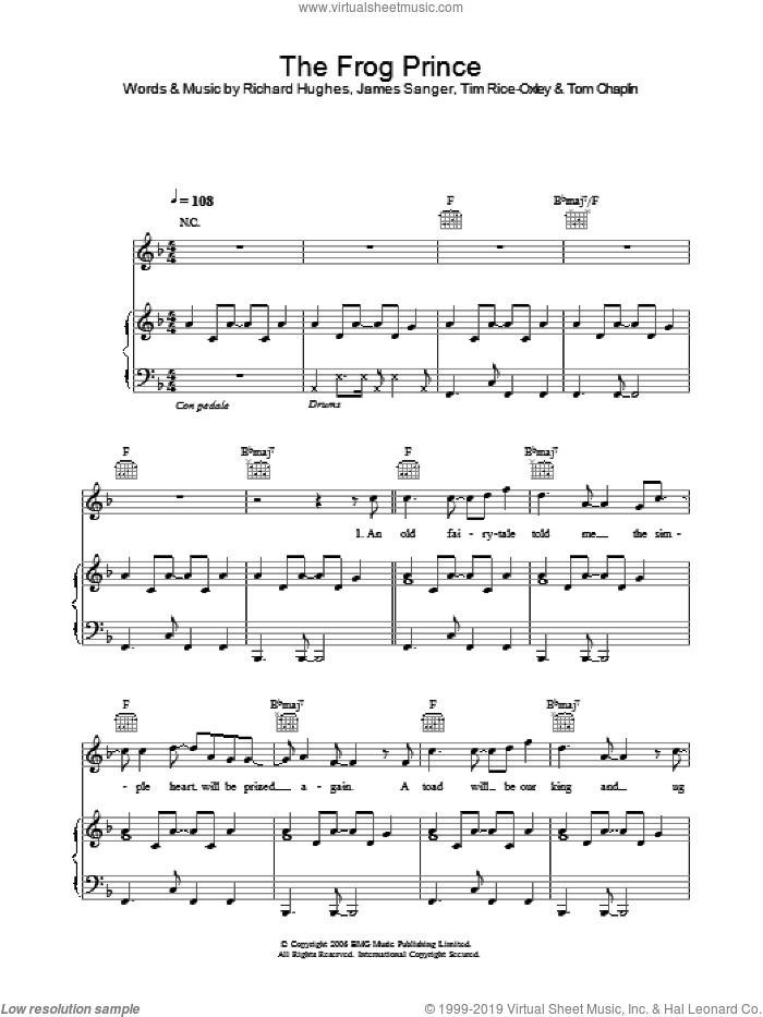 The Frog Prince sheet music for voice, piano or guitar by Tom Chaplin, Richard Hughes and Tim Rice-Oxley. Score Image Preview.