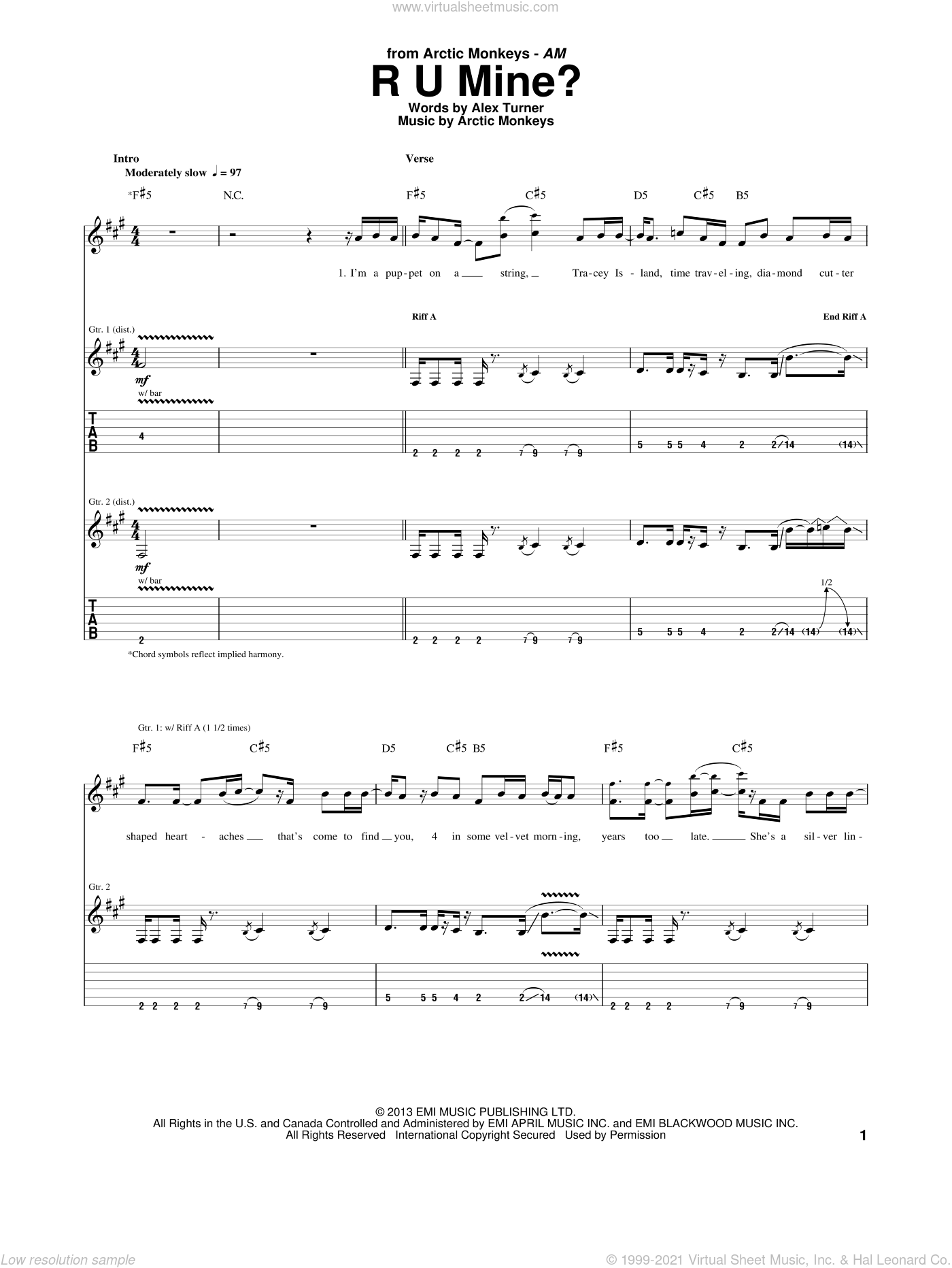 R U Mine? sheet music for guitar (tablature) by Arctic Monkeys, intermediate. Score Image Preview.