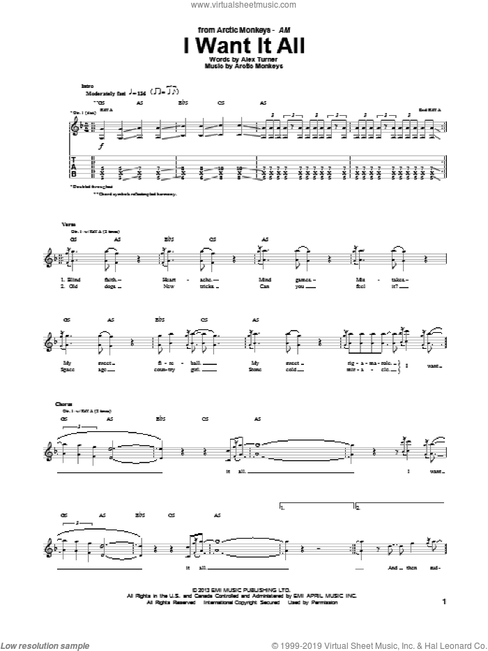 I Want It All sheet music for guitar (tablature) by Arctic Monkeys. Score Image Preview.