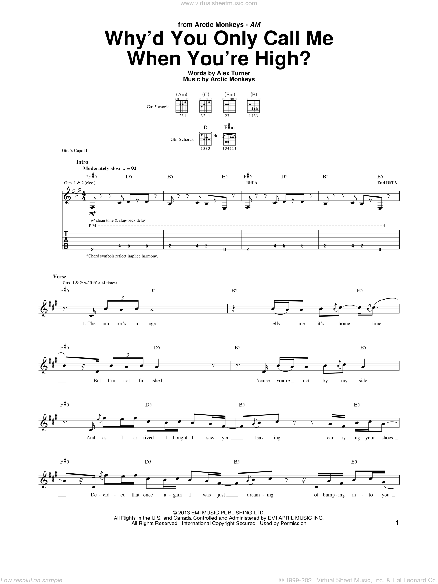 Why'd You Only Call Me When You're High? sheet music for guitar (tablature) by Arctic Monkeys, intermediate