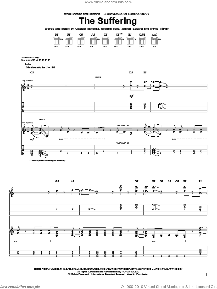The Suffering sheet music for guitar (tablature) by Travis Stever, Claudio Sanchez and Joshua Eppard. Score Image Preview.