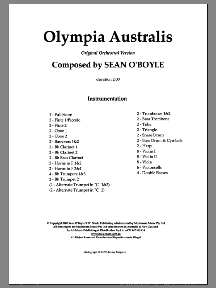 Olympia Australis (Orchestra) (COMPLETE) sheet music for orchestra by Sean O'Boyle, intermediate. Score Image Preview.