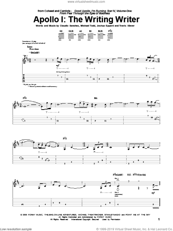 Apollo I: The Writing Writer sheet music for guitar (tablature) by Travis Stever