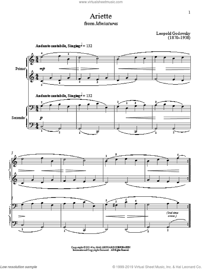 Ariette sheet music for piano four hands by Bradley Beckman and Carolyn True, intermediate skill level