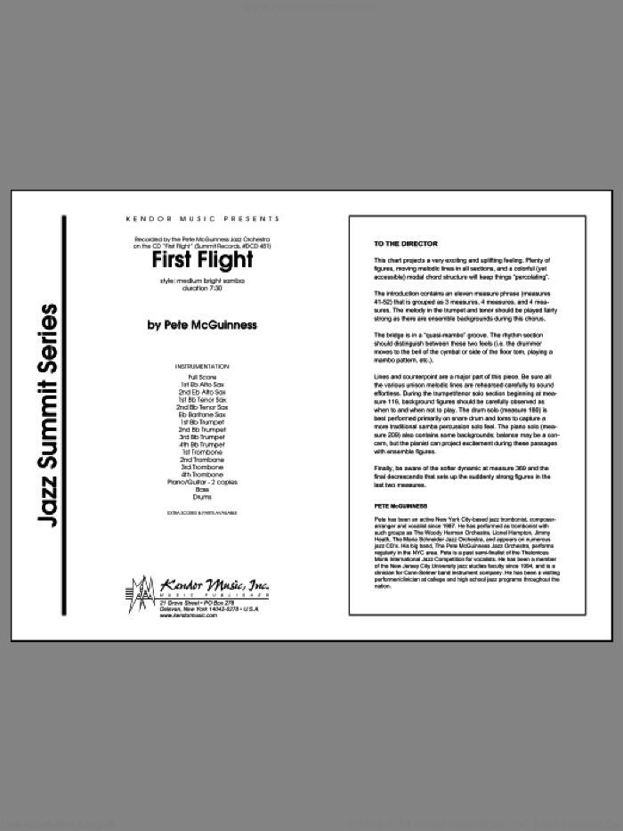 First Flight (COMPLETE) sheet music for jazz band by McGuinness, intermediate skill level