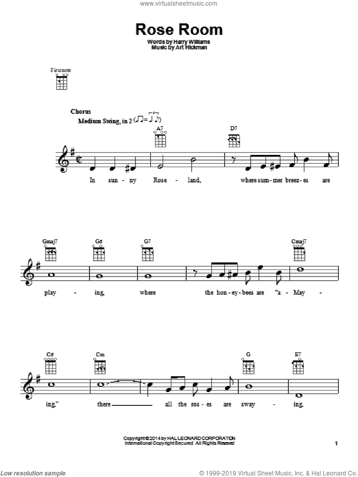 Rose Room sheet music for ukulele by Harry Williams and Art Hickman. Score Image Preview.