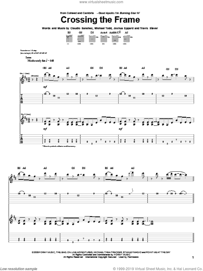 Crossing The Frame sheet music for guitar (tablature) by Travis Stever, Claudio Sanchez and Joshua Eppard. Score Image Preview.