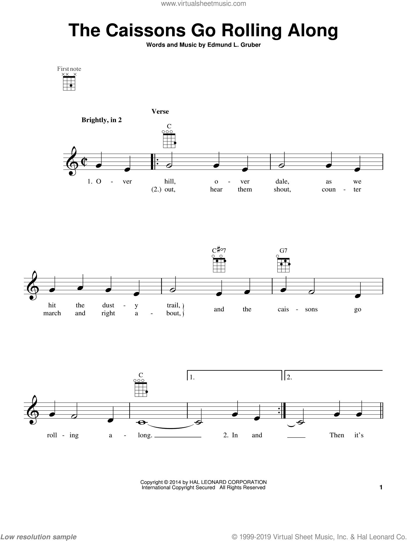 The Caissons Go Rolling Along sheet music for ukulele by Edmund L. Gruber. Score Image Preview.