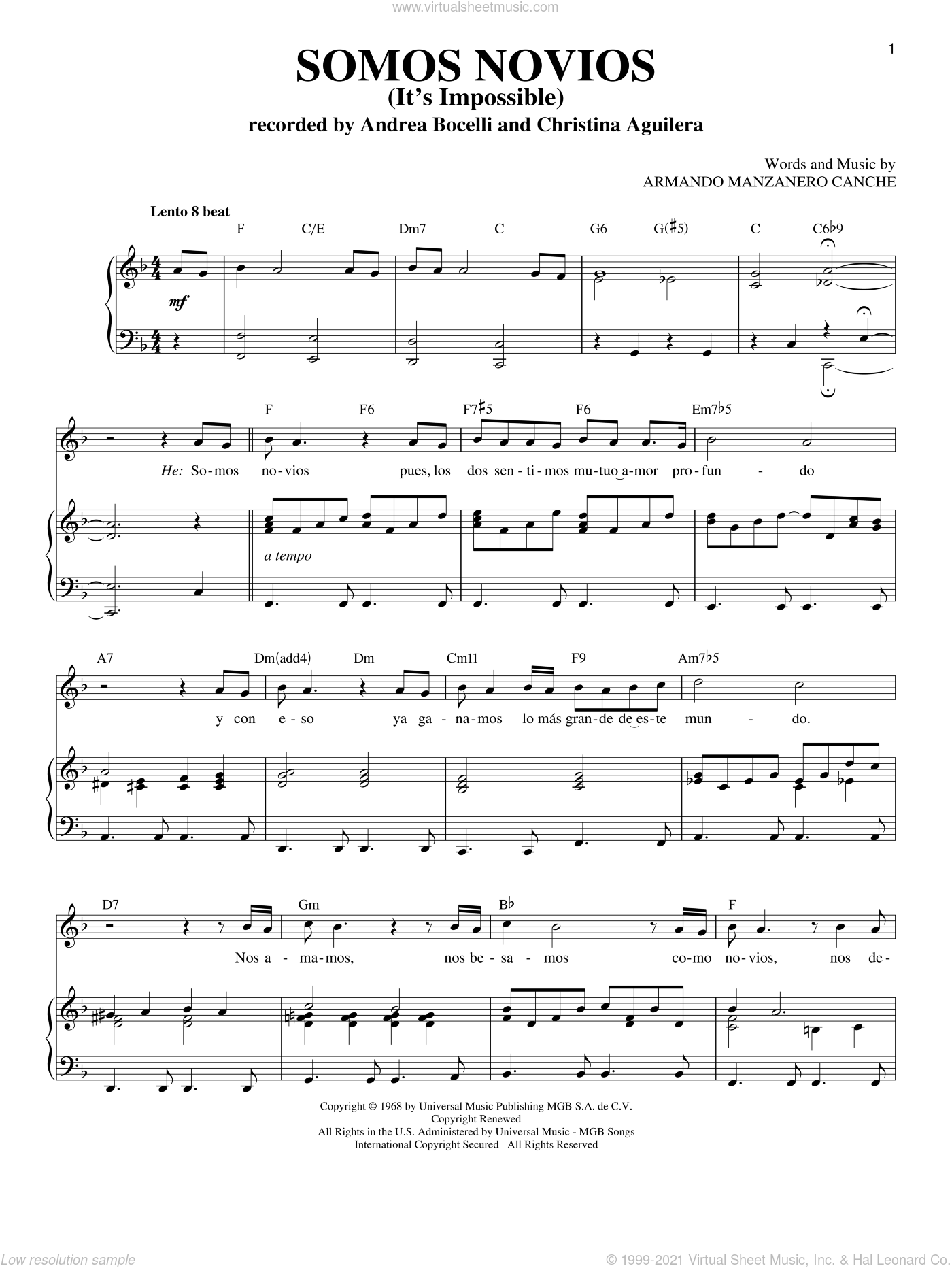 Somos Novios sheet music for voice and piano by Armando Manzanero Canche. Score Image Preview.