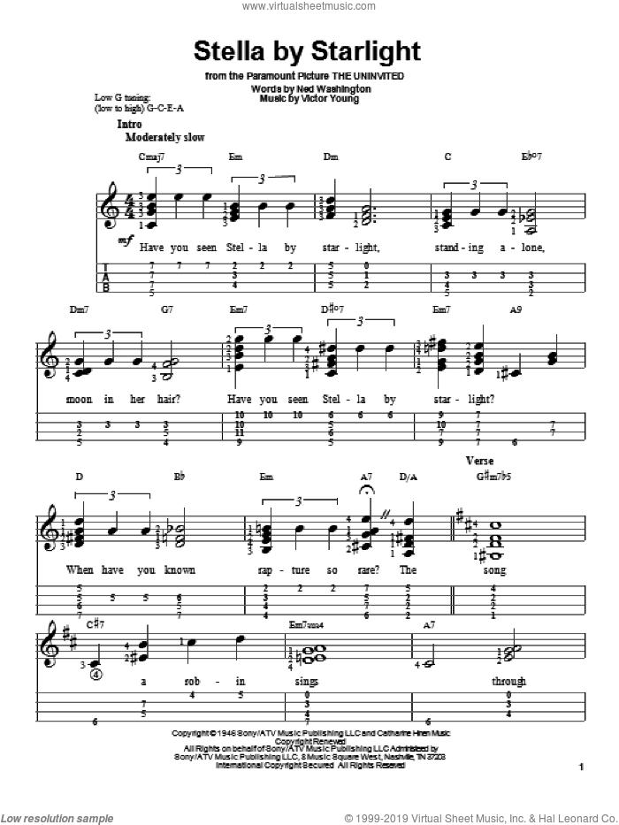 Stella By Starlight sheet music for ukulele by Ray Charles and Ned Washington, intermediate skill level