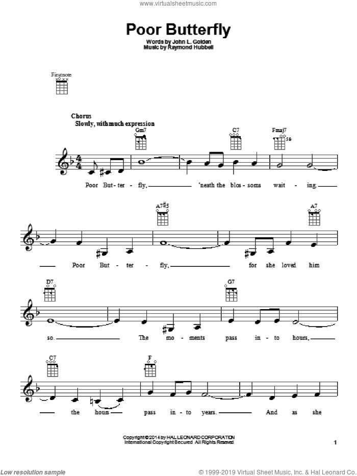 Poor Butterfly sheet music for ukulele by Raymond Hubbell, intermediate ukulele. Score Image Preview.