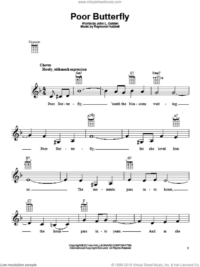 Poor Butterfly sheet music for ukulele by Raymond Hubbell, intermediate skill level