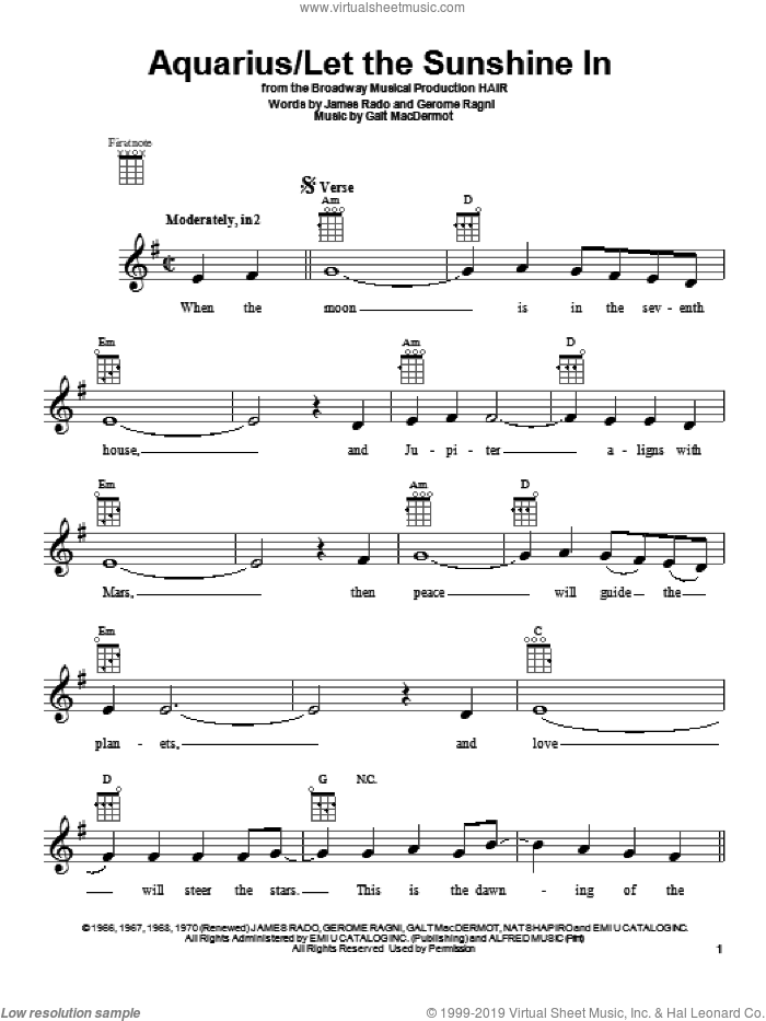 Aquarius sheet music for ukulele by The Fifth Dimension, intermediate. Score Image Preview.