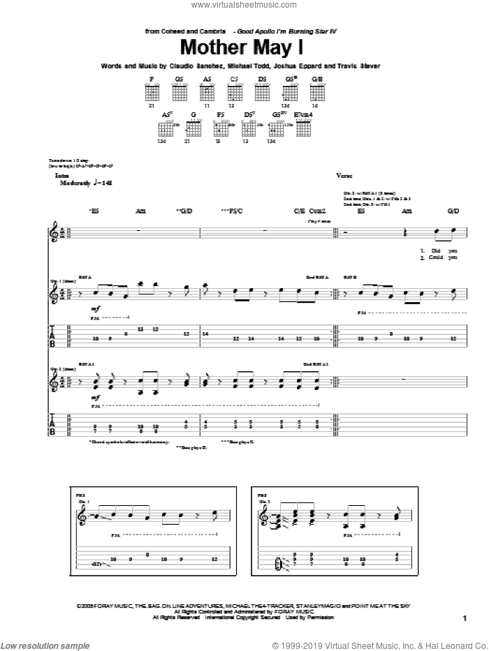 Mother May I sheet music for guitar (tablature) by Travis Stever, Claudio Sanchez and Joshua Eppard. Score Image Preview.
