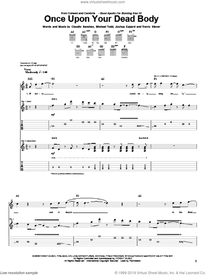 Once Upon Your Dead Body sheet music for guitar (tablature) by Coheed And Cambria, Claudio Sanchez, Joshua Eppard, Michael Todd and Travis Stever, intermediate