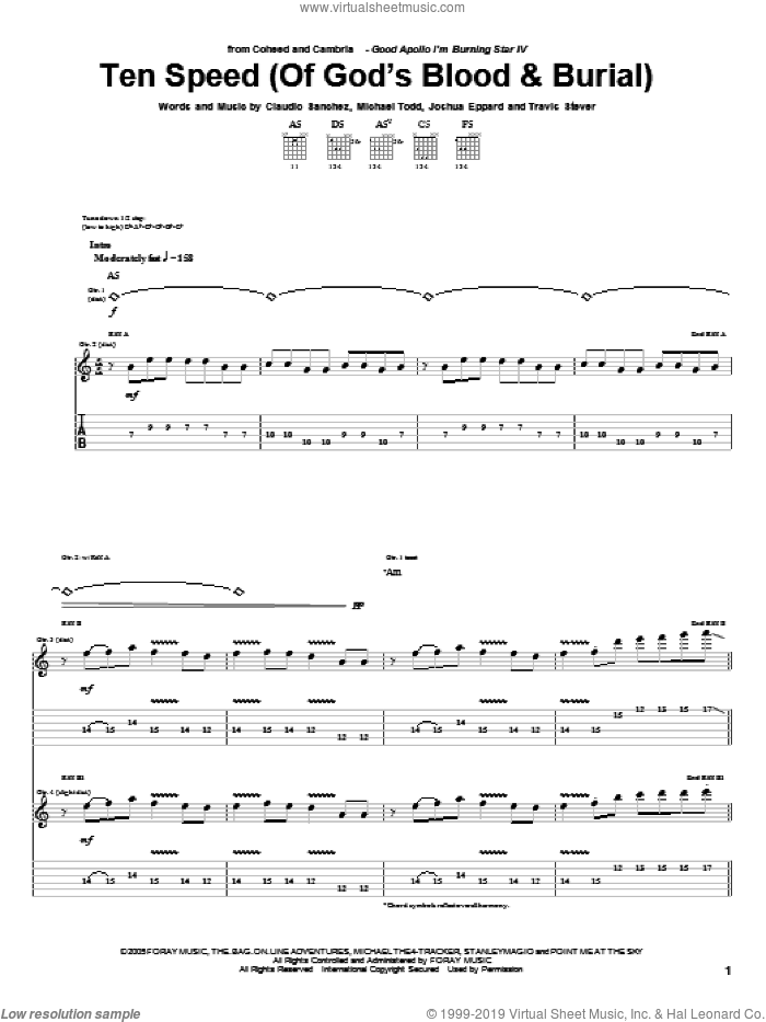 Ten Speed (Of God's Blood and Burial) sheet music for guitar (tablature) by Travis Stever, Claudio Sanchez and Joshua Eppard
