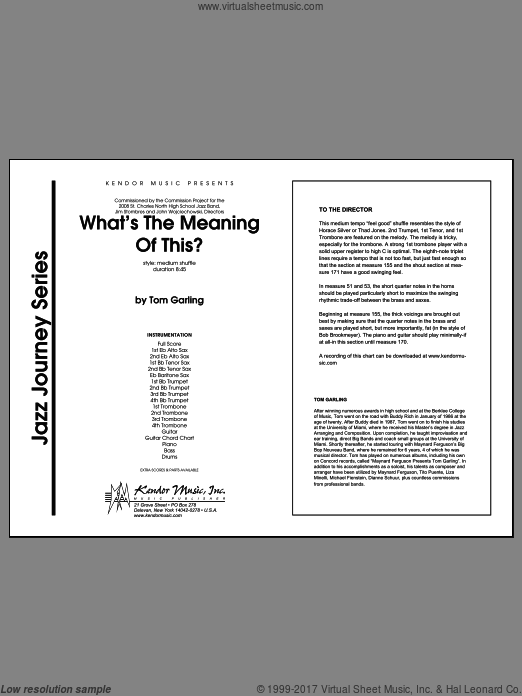 What's The Meaning Of This? (COMPLETE) sheet music for jazz band by Garling