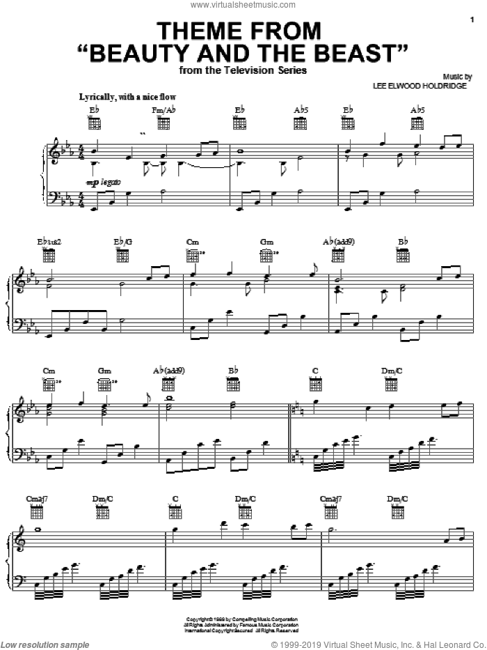 Theme from Beauty And The Beast sheet music for voice, piano or guitar by Lee Elwood Holdridge, intermediate skill level
