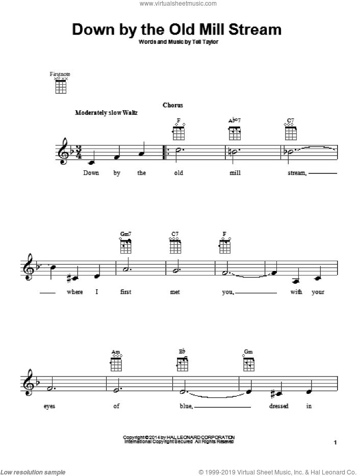 Down By The Old Mill Stream sheet music for ukulele by Tell Taylor, intermediate ukulele. Score Image Preview.