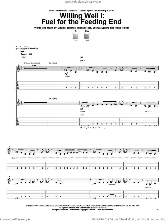 Willing Well I: Fuel For The Feeding End sheet music for guitar (tablature) by Coheed And Cambria, Claudio Sanchez, Joshua Eppard, Michael Todd and Travis Stever, intermediate. Score Image Preview.