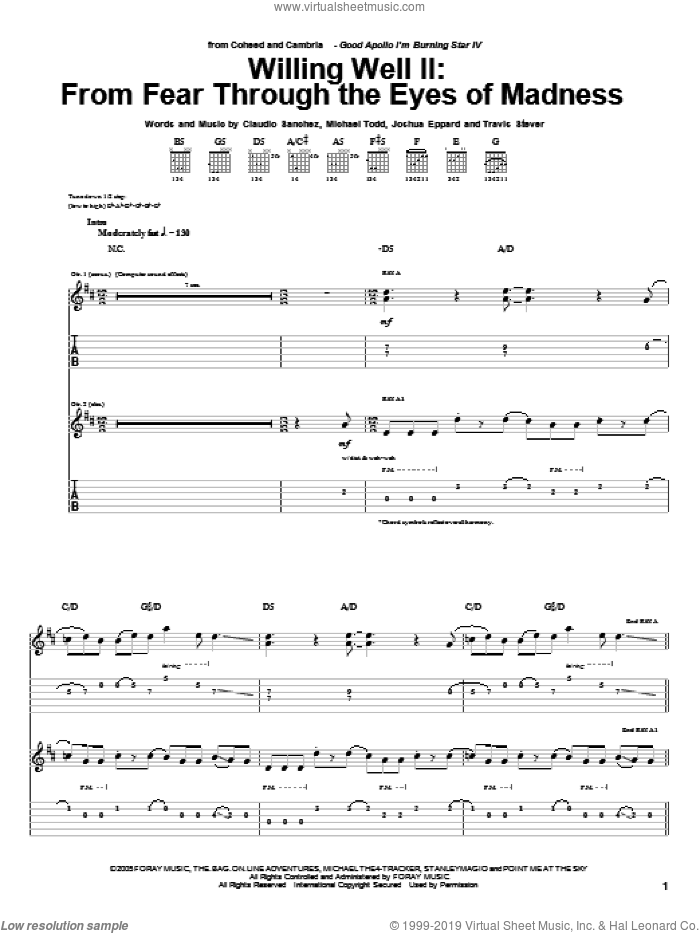 Willing Well II: From Fear Through The Eyes Of Mad sheet music for guitar (tablature) by Travis Stever, Claudio Sanchez and Joshua Eppard. Score Image Preview.