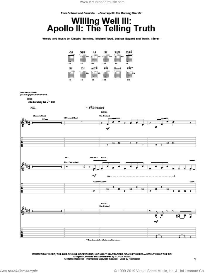 Willing Well III: Apollo II: The Telling Truth sheet music for guitar (tablature) by Coheed And Cambria, Claudio Sanchez, Joshua Eppard, Michael Todd and Travis Stever, intermediate