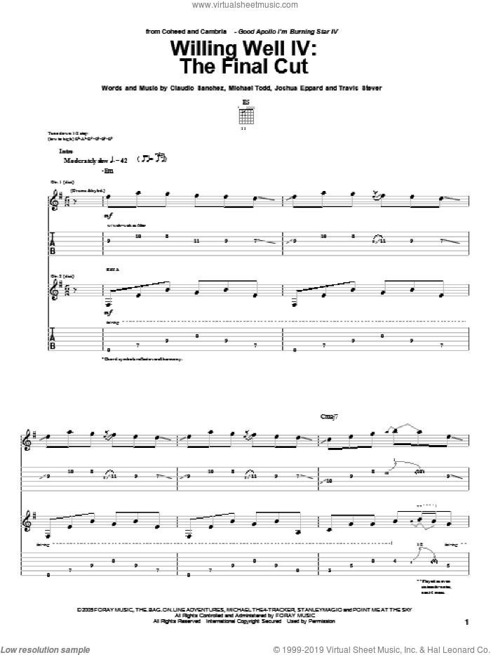 Willing Well IV: The Final Cut sheet music for guitar (tablature) by Travis Stever, Claudio Sanchez and Joshua Eppard