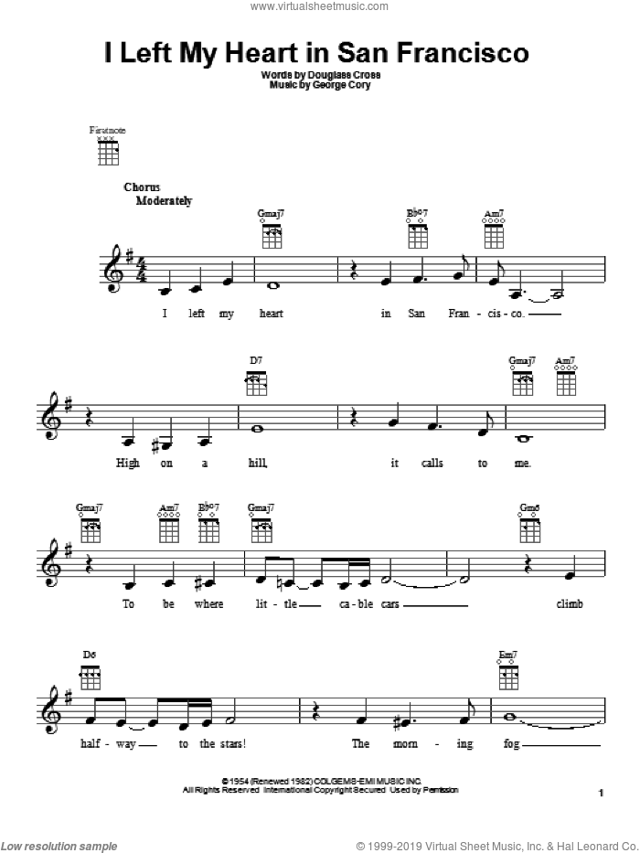 I Left My Heart In San Francisco sheet music for ukulele by Tony Bennett. Score Image Preview.