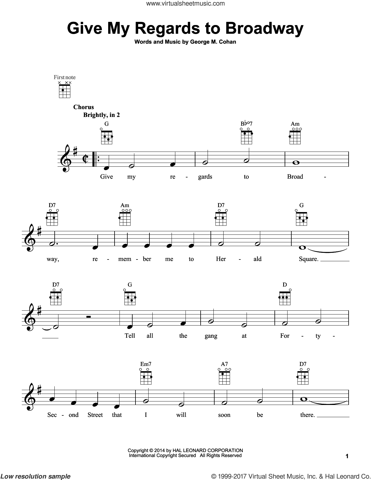 Give My Regards To Broadway sheet music for ukulele by George M. Cohan and George Cohan, intermediate skill level