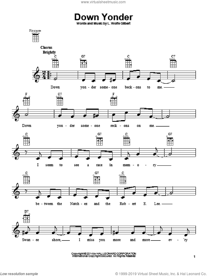 Down Yonder sheet music for ukulele by L. Wolfe Gilbert, intermediate ukulele. Score Image Preview.