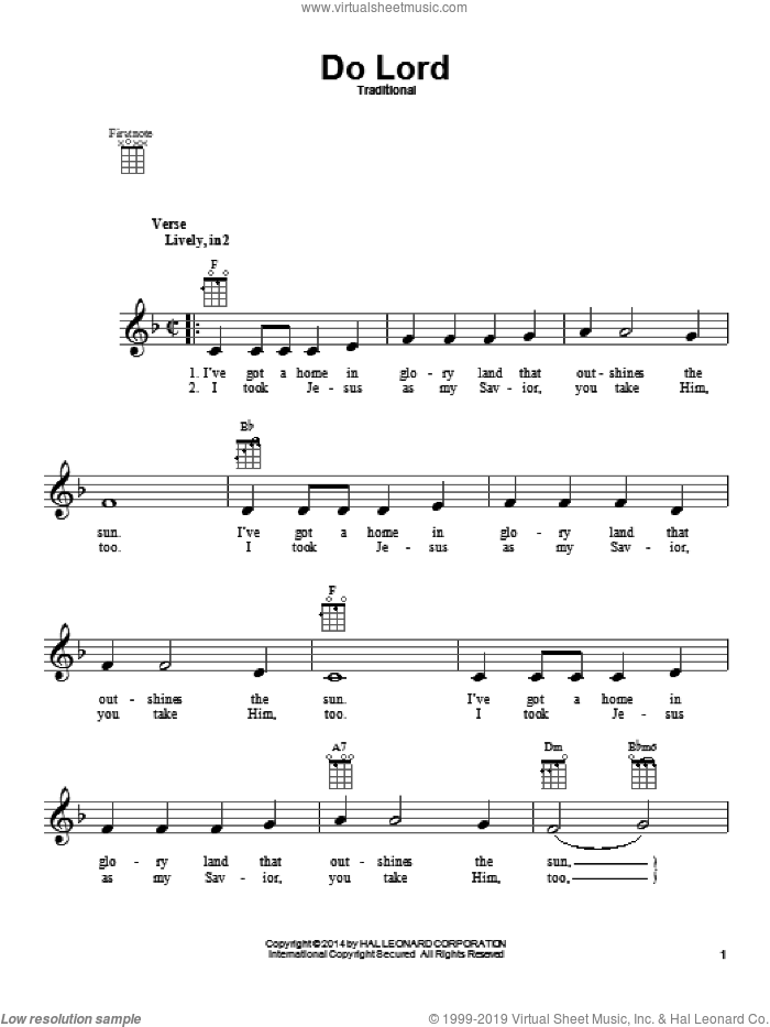 Do Lord sheet music for ukulele. Score Image Preview.